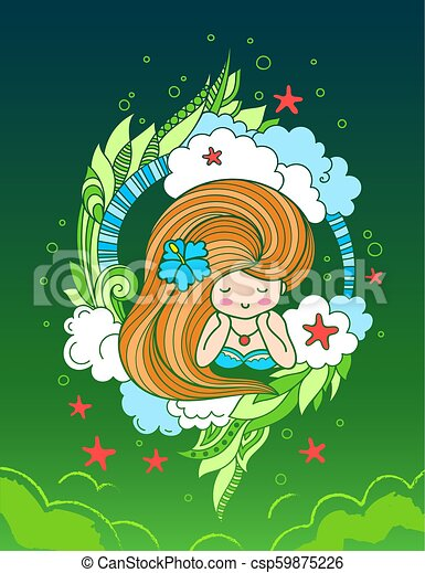 Lying beautiful woman with long beautiful hair, surrounded by clouds, seaweeds and starfish. - csp59875226