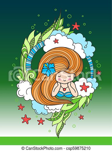 Lying beautiful woman with long beautiful hair, surrounded by clouds, seaweeds and starfish. - csp59875210