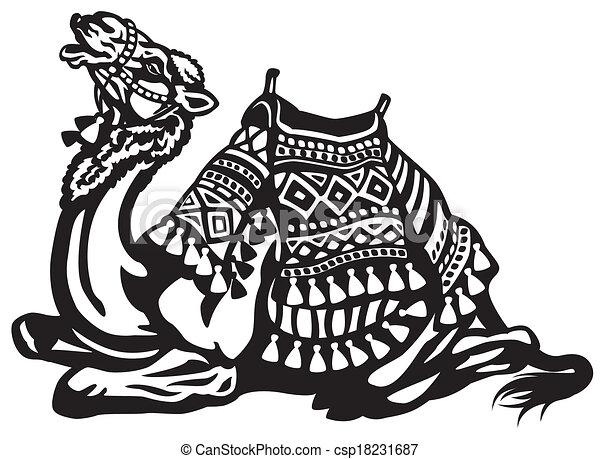 lying camel with saddle - csp18231687