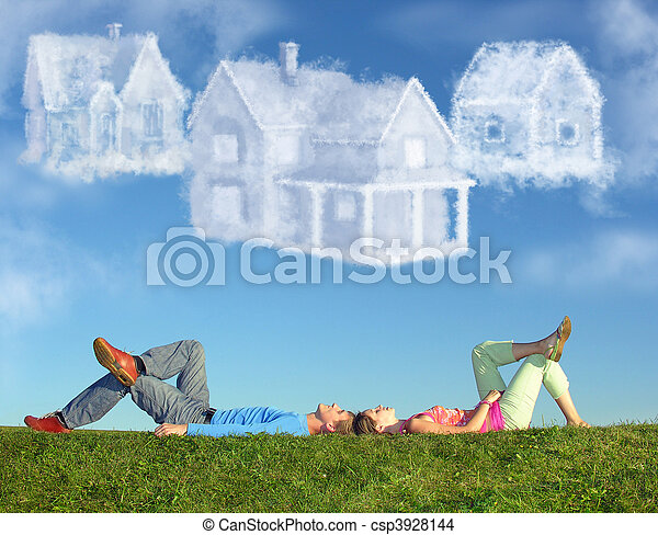 lying couple on grass and dream three cloud houses collage - csp3928144