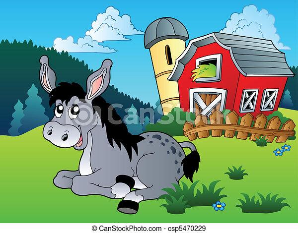 Lying donkey near farm - csp5470229