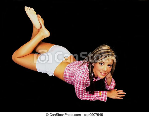 Girl Laying On Her Stomach