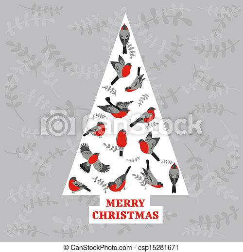lykønskning, -, træ, fugle, invitation, vektor, retro, card christmas - csp15281671
