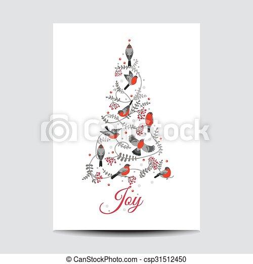 lykønskning, -, træ, fugle, invitation, vektor, retro, card christmas - csp31512450