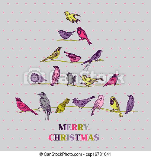 lykønskning, -, træ, fugle, invitation, vektor, retro, card christmas - csp16731041