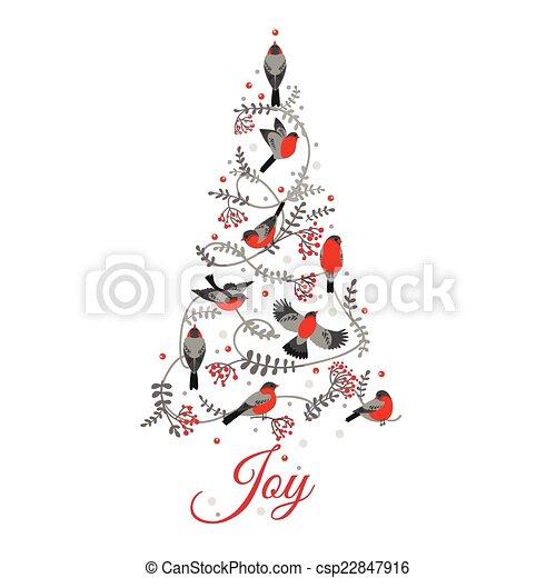 lykønskning, -, træ, fugle, invitation, vektor, retro, card christmas - csp22847916
