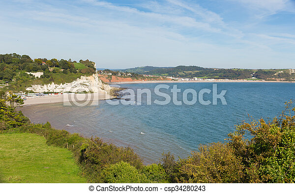 Lyme bay and Beer & Seaton beaches - csp34280243