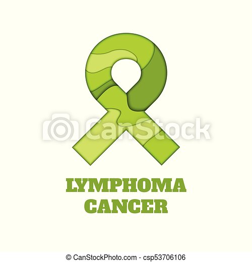 Lymphoma Awareness Papercut Ribbon Lymphoma Awareness Poster Lime