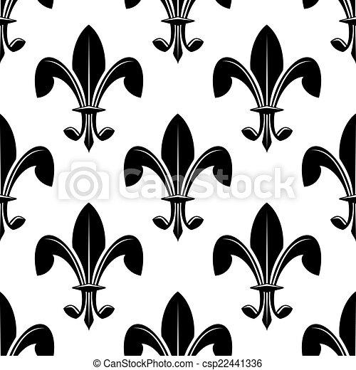 Lys Modèle De Fleur Noir Seamles Blanc