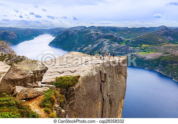 lysefjord, -, fjord, norvège, preikestolen, falaise - csp28358332