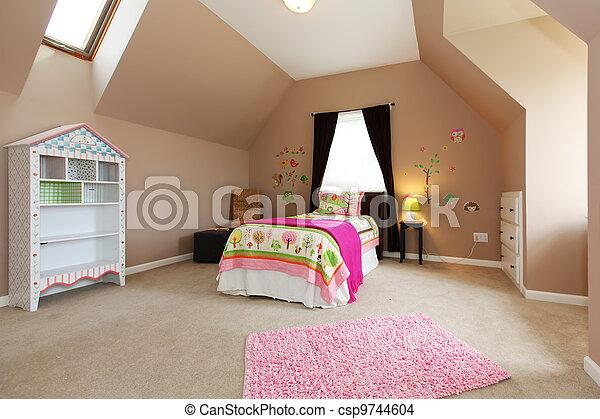 Lyserød, brun, børn, walls., seng, soveværelse, baby pige.... stock ...