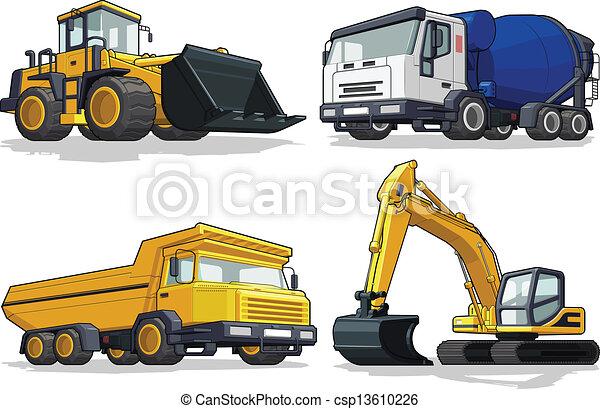 Máquina, c, construcción, -, excavadora. Disponible, conjunto, color ...