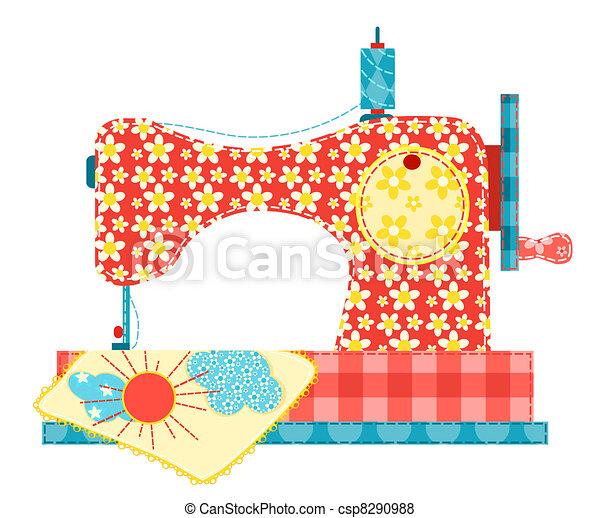 Una máquina de coser en blanco. - csp8290988