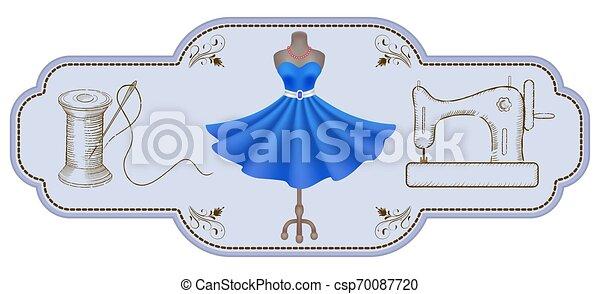 Un marco retro decorativo para etiquetas publicitarias o talleres con etiquetas dibujadas a mano, un rollo de hilo, aguja, maniquí y máquina de coser - csp70087720