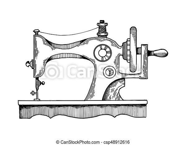 Máquina de coser vector de grabado - csp48912616