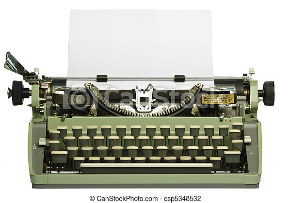 máquina de escribir, papel, retro, blanco - csp5348532
