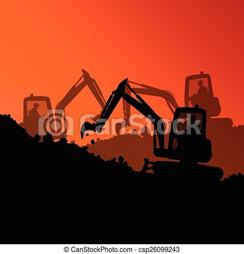 máquina, escavador, hidráulico, carregador - csp26099243