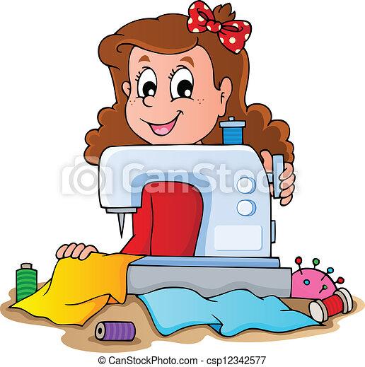 máquina, menina, cosendo, caricatura - csp12342577
