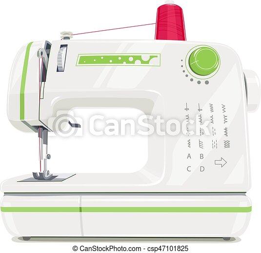 Máquina de coser moderna con hilo de carrete rojo - csp47101825