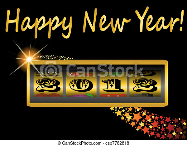Nuevo año 2012 en la máquina tragaperras - csp7782818