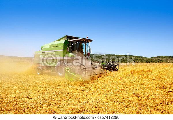 Combina cosechadora cosechando cereales - csp7412298
