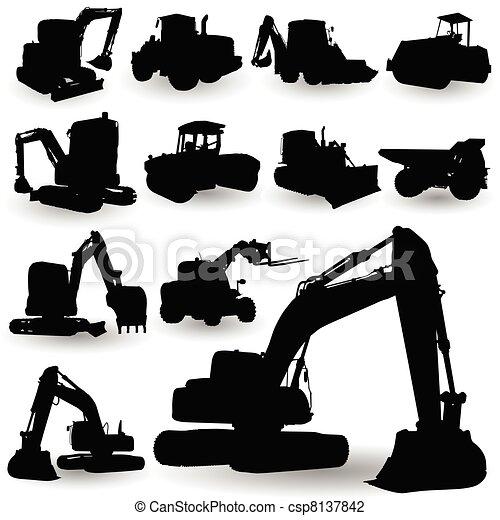 máquina, trabalho construção, silueta - csp8137842