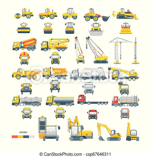 máquina, vetorial, jogo, maquinaria, asfalto - csp67646311
