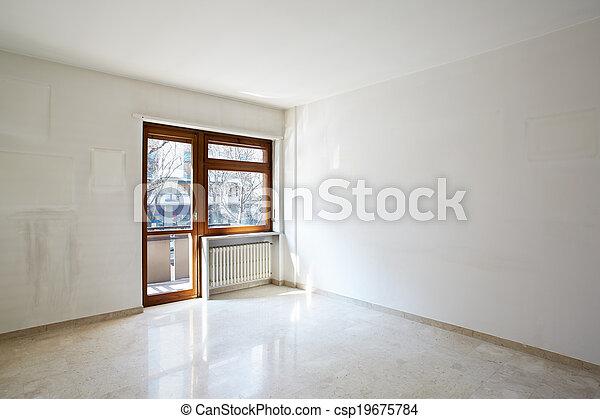 Habitación vacía con suelo de mármol - csp19675784