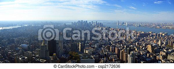 más bajo, aéreo, encima, panorámico, york, nuevo, manhattan, vista - csp2172636