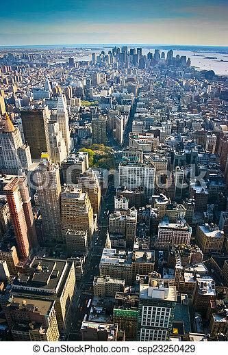 más bajo, aéreo, encima, york, nuevo, manhattan, vista - csp23250429