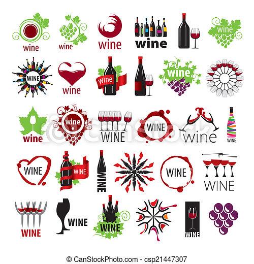 La mayor colección de logos vectoriales de vino - csp21447307