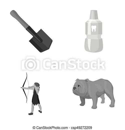 más, lapát, angol, ikon, karikatúra, ősi, bulldog, állhatatos, collection., fog, style., monochrom, sapper, vadász, ikonok, elixír - csp49272209