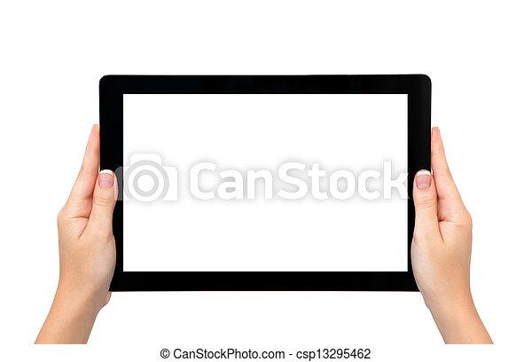 más tiempo, tableta, marco, aislado, hembra entrega, asimiento, bandera, o - csp13295462