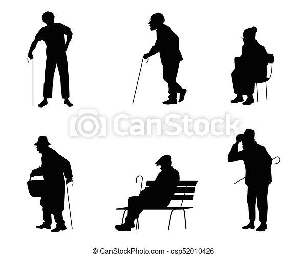 Seis siluetas de personas mayores - csp52010426