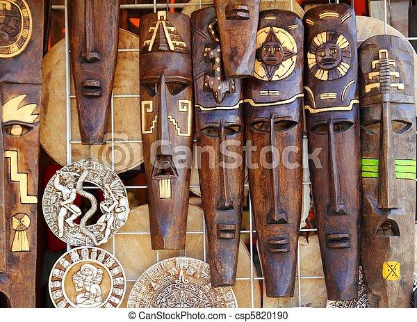 Filas Mexicano Máscara De Madera Maya Handcrafts Azteca Indio