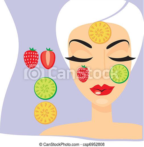 La persona de la mujer con una máscara de fruta de cosmetología - csp6952808