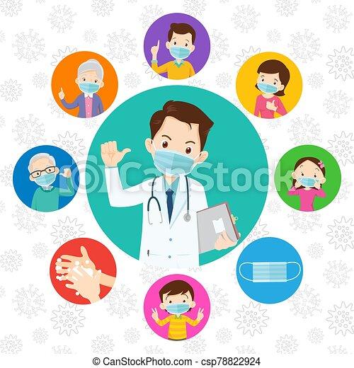 máscara protectora, doctor, llevando, covid-19., familia , médico, virus - csp78822924