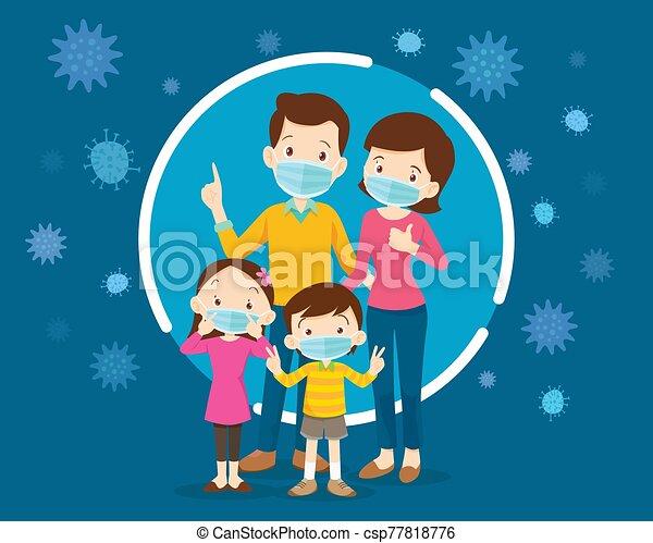 máscara protectora, mask., llevando, quirúrgico, hija, familia , mamá, papá, hijo, médico, prevenir, virus. - csp77818776