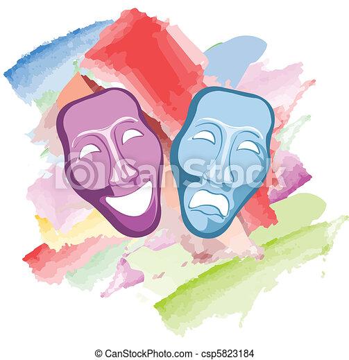 máscaras, comédia, tragédia, teatro - csp5823184