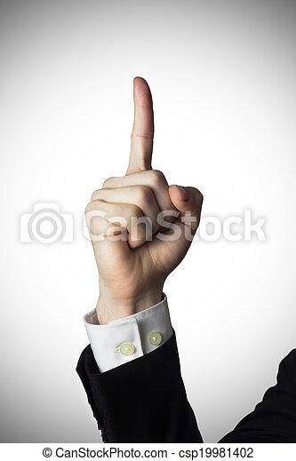 mâle, doigt indique, haut - csp19981402
