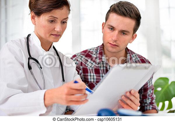 mâle, patient, docteur - csp10605131