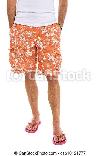 mâle, short, chiquenaude, closeup, jambes, opérations virgule flottante - csp10121777