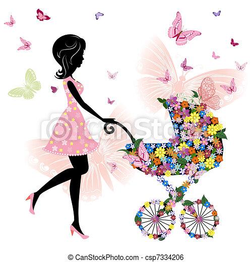 mãe, carrinho criança, jovem - csp7334206