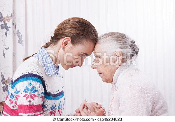 mão., idoso, segurando, lar, concept., cuidado - csp49204023