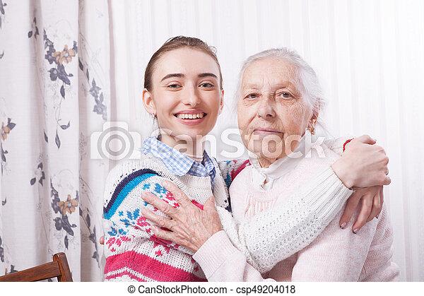 mão., idoso, segurando, lar, concept., cuidado - csp49204018