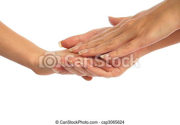 mão, mãe prende criança - csp3065624