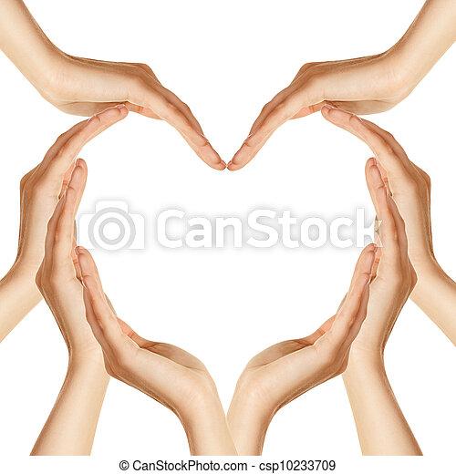 mãos, coração, fazer, forma - csp10233709