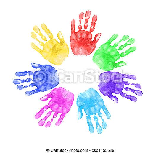 mãos, crianças escola - csp1155529