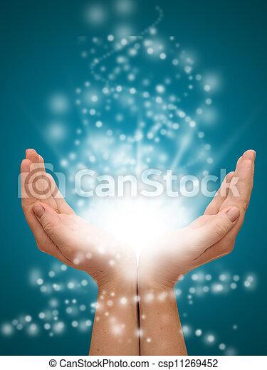 mãos, segurando, glowing, luzes, abertos - csp11269452