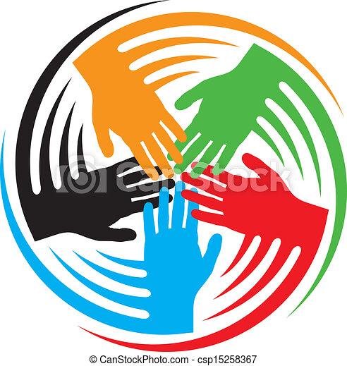 mãos, trabalho equipe, ícone - csp15258367